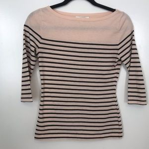 Striped Boat Neck 3/4 Sleeve Tee